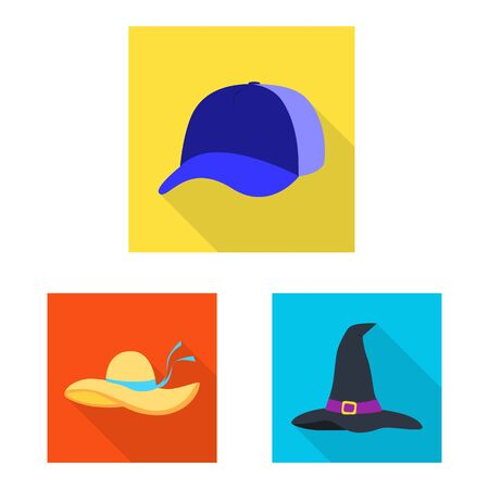 Vector design of fashion and profession icon. Collection of fashion and cap stock symbol for web. Ilustração
