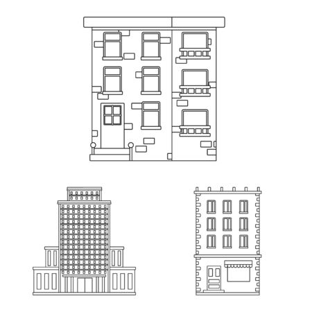 Isolated object of architecture and exterior. Set of architecture and city vector icon for stock.