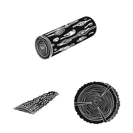 Vector design of hardwood and construction icon. Set of hardwood and wood vector icon for stock. Banco de Imagens - 129735677