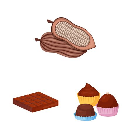 Isolated object of cocoa and beans sign. Collection of cocoa and sweetness stock symbol for web. Ilustrace