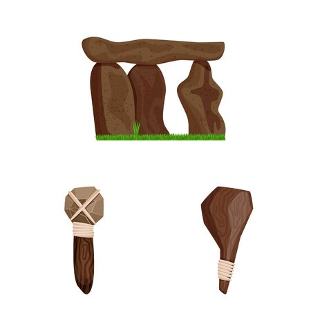 Vector illustration of ancient and age icon. Set of ancient and archeology stock symbol for web. Иллюстрация