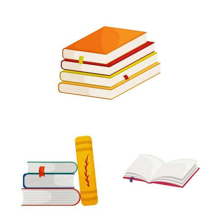Vector illustration of library and bookstore icon. Set of library and literature stock vector illustration. Иллюстрация