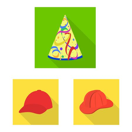 Vector illustration of fashion and profession symbol. Set of fashion and cap stock symbol for web.