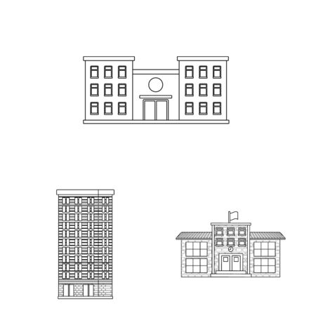Vector design of architecture and exterior icon. Set of architecture and city stock symbol for web. Иллюстрация