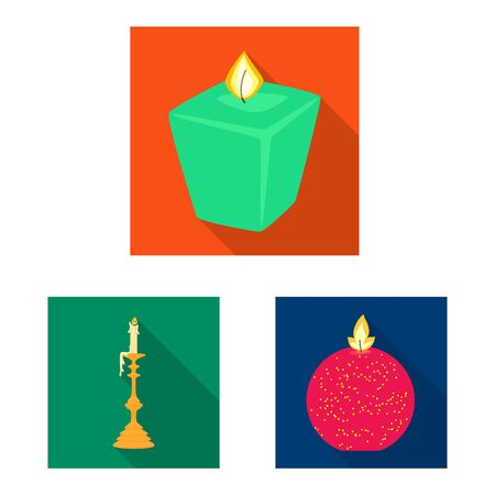 Isolated object of candlelight and decoration symbol. Collection of candlelight and flame vector icon for stock. Иллюстрация