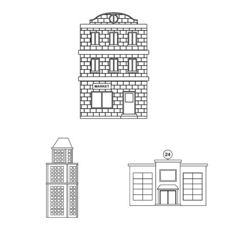 Isolated object of architecture and exterior symbol. Collection of architecture and city stock vector illustration.  イラスト・ベクター素材