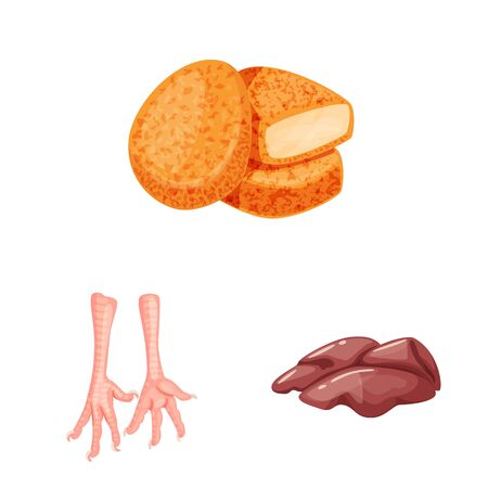 Isolated object of meat and raw. Collection of meat and grilled vector icon for stock.