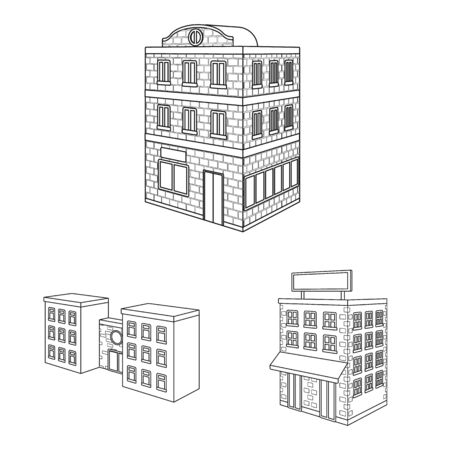 Vector illustration of home and apartment. Set of home and modern vector icon for stock.