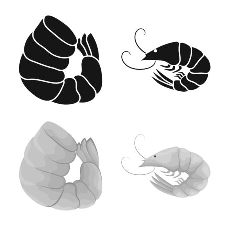 Vector design of appetizer and ocean icon. Set of appetizer and delicacy stock symbol for web.