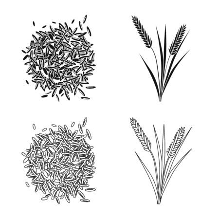 Isolated object of crop and ecological. Collection of crop and cooking stock vector illustration.