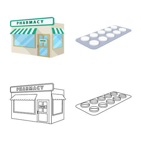 Isolated object of retail and healthcare. Set of retail and wellness stock symbol for web.