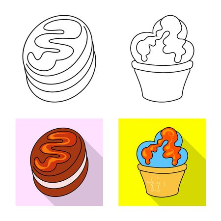 Vector design of confectionery and culinary. Collection of confectionery and product stock symbol for web.