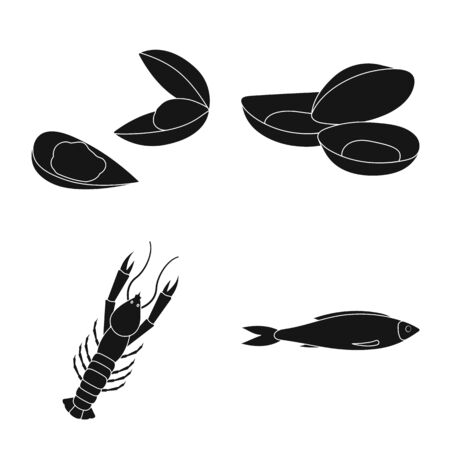 Vector illustration of market and marine icon. Collection of market and sea vector icon for stock.