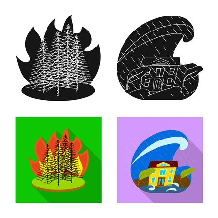 Vector design of weather and distress icon. Collection of weather and crash vector icon for stock. Stock Vector - 129674873