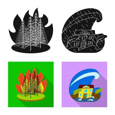 Vector design of weather and distress icon. Collection of weather and crash vector icon for stock. Illusztráció