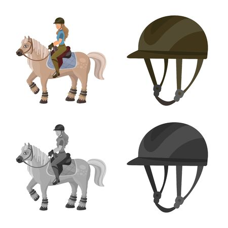 Vector illustration of equipment and riding icon. Set of equipment and competition stock vector illustration.
