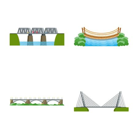 Vector design of bridgework and bridge symbol. Collection of bridgework and landmark stock symbol for web.