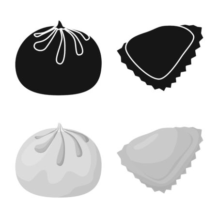 Vector design of products and cooking sign. Collection of products and appetizer stock symbol for web.