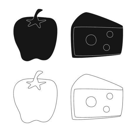 Vector design of taste and product icon. Set of taste and cooking stock symbol for web.