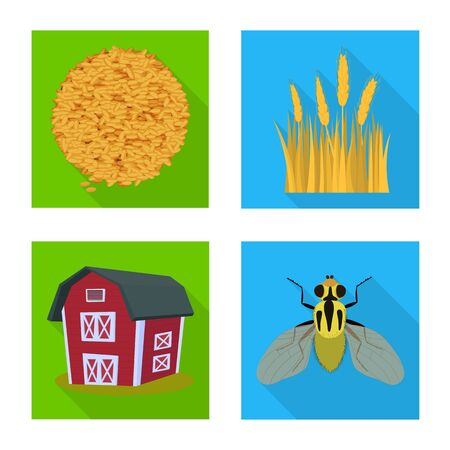 Vector design of wheat and corn. Set of wheat and harvest vector icon for stock. Banque d'images - 129675066