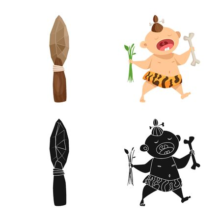 Vector design of evolution and prehistory icon. Set of evolution and development stock symbol for web. 일러스트