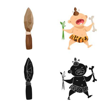 Vector design of evolution and prehistory icon. Set of evolution and development stock symbol for web. Stock Illustratie