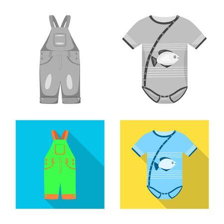 Vector illustration of fashion and garment symbol. Collection of fashion and cotton stock vector illustration. Illusztráció