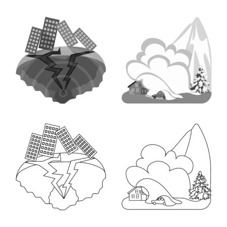 Isolated object of weather and distress sign. Collection of weather and crash stock vector illustration.