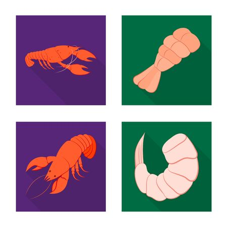Vector illustration of appetizer and seafood symbol. Set of appetizer and ocean stock vector illustration.