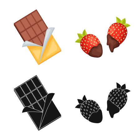 Vector illustration of food and yummy icon. Set of food and brown vector icon for stock. Ilustrace