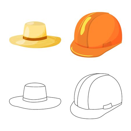 Isolated object of clothing and cap sign. Collection of clothing and beret stock vector illustration. Çizim