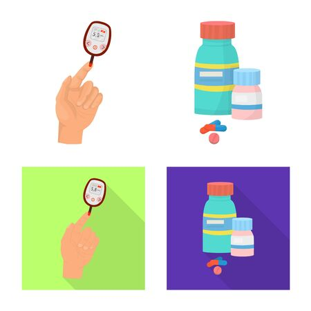 Isolated object of diet and treatment. Collection of diet and medicine vector icon for stock.