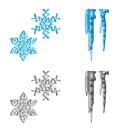 Isolated object of texture and frozen symbol. Collection of texture and transparent stock vector illustration.