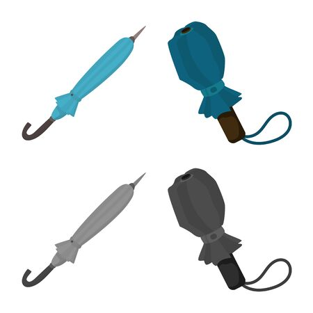 Vector illustration of protection and closed symbol. Collection of protection and rainy vector icon for stock.  イラスト・ベクター素材