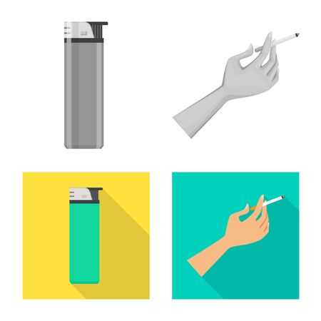 Vector design of refuse and stop symbol. Set of refuse and habit vector icon for stock. Ilustração
