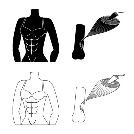 Vector design of fiber and muscular sign. Collection of fiber and body stock symbol for web. Illustration