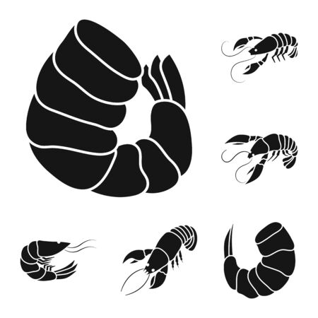 Isolated object of meat and delicacy icon. Set of meat and crab vector icon for stock. Ilustracja