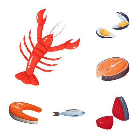 Vector design of food and sea. Collection of food and healthy vector icon for stock.