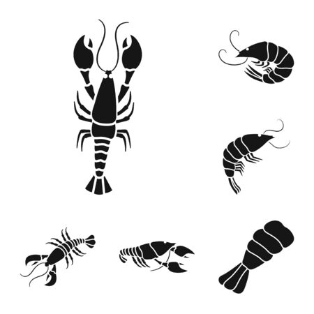 Vector illustration of meat and delicacy symbol. Collection of meat and crab vector icon for stock. Ilustracja