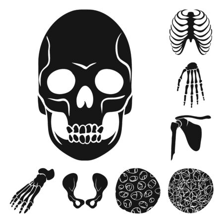 Isolated object of biology and medical icon. Set of biology and skeleton vector icon for stock.