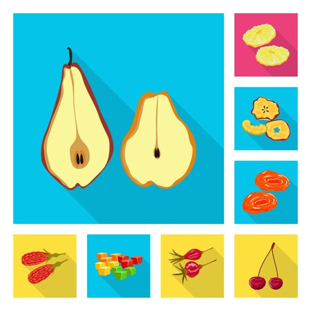 Vector design of fruit and dried sign. Collection of fruit and food stock symbol for web.