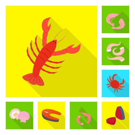 Isolated object of product and ocean symbol. Collection of product and restaurant stock symbol for web. Ilustracja
