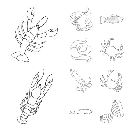Isolated object of food and sea sign. Collection of food and healthy vector icon for stock. Ilustracja