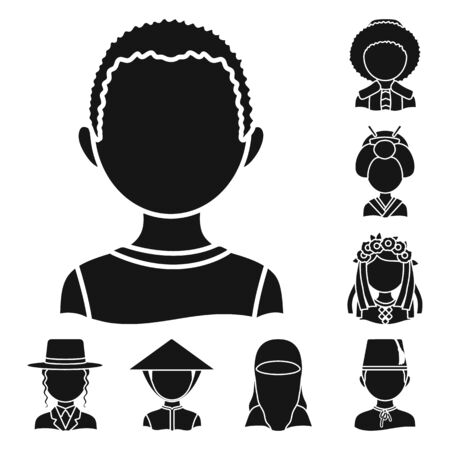 Vector illustration of person and culture. Set of person and race vector icon for stock. Illusztráció