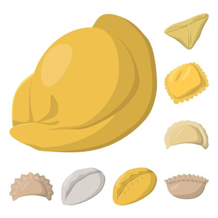 Vector illustration of dumplings and food symbol. Collection of dumplings and stuffed vector icon for stock.