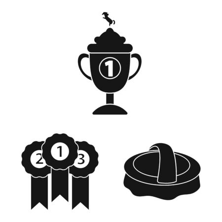 Vector illustration of sport and competition symbol. Set of sport and equestrian vector icon for stock.