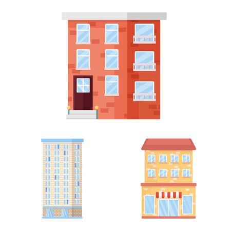 Vector design of facade and building icon. Collection of facade and exterior stock vector illustration.