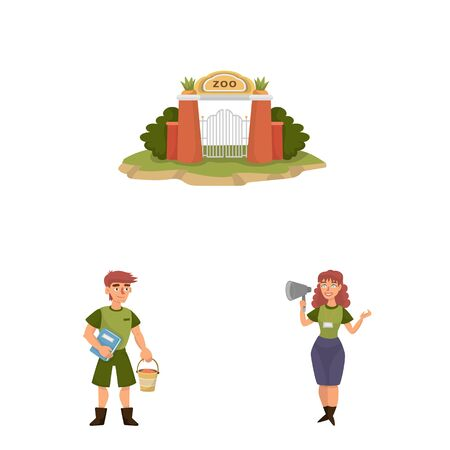Vector design of zoo and park icon. Collection of zoo and animal vector icon for stock. Ilustrace