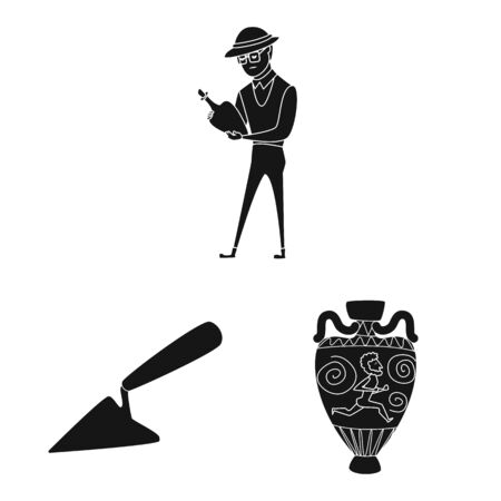 Vector illustration of museum and attributes sign. Collection of museum and historical vector icon for stock.