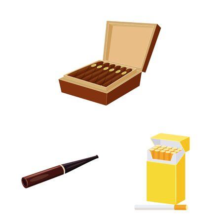 Vector design of cigarette and tobacco icon. Set of cigarette and nicotine stock vector illustration. 向量圖像